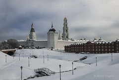 View of the snow-covered monastery (Lyutik966) Tags: sergievposad monastery toroitsesergiuslavra russia architecture complex monument building church cathedral belltower wall chapel park bridge lamp path lawn snow winter