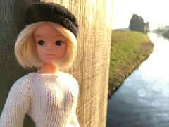 Warmth of winter (dolldudemeow24) Tags: sindy doll dolls blonde beanie short hair fixed custom maggie fashion barbie sun sunlight outside water grass trees dutch holland netherlands 2018