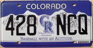 Colorado Rockies License Plate Baseball MLB