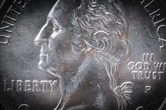 President Washington (sniggie) Tags: georgewashington ingodwetrust macromondays unitedstatesofamerica coinage coins lessthananinch quarter cupronickel copper nickel twobits quarterdollar liberty