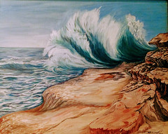 Big Ocean Wave (happyespi17) Tags: ocean wave art painting oil shoreline rocky oilpainting bigwave oceanwave atlantaartist beach
