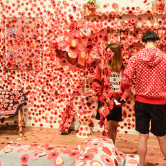 Camouflage (Marian Pollock) Tags: australia melbourne ngv exhibition triennial room interactive flowers red people camouflage stickers experience couple art