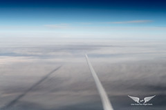 The race is on! Following an Airbus A320 4,000ft below en-route to Berlin (gc232) Tags: air2air airtoair air livefromtheflightdeck golfcharlie232 airplane aerial contrail contrails chemtrails fly altitude clouds airline pilot view aviation