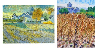 View of the Church of Saint Paul de Mausole by Van Gogh 1889 and with Sunflowers by Anthony D. Padgett 2017
