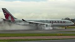 qatar (COCOAJAMESON) Tags: spray airport aviation avgeek aviationgeek airplane aeroplane aircraft av8 airliner canon egcc engines manchester manairport manchesterairport man plane photography