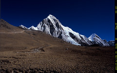 Pumori Peak  (Velvia 100) (Harald Philipp) Tags: himalayas pumori nepal snow glaciers pentax 645 645n 645nii velvia alpine 120 film