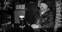 A pint f Guinness. . . (CWhatPhotos) Tags: cwhatphotos portrait pose black white mono monochrome me man male drinking ale goatee beard tint side view face pint guinness glass pub inn bar drink olympus epl5 samyang fisheye prime lens pictures picture photographs photograph pic pics foto fotos image images with that have which contain theshakespeare durham city shakespeare public house