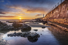Sunrise at Seaburn, Sunderland (DM Allan) Tags: sunrise dawn golden beach sunderland wearside seaburn roker coast rockpools lighthouse cliffepark landscape