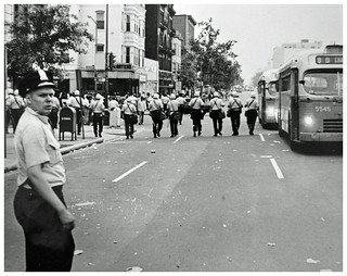 Police sweep 14th Street NW during Resurrection City disturbances: 1968