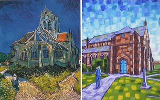 The Church at Auvers by Van Gogh 1890 and at Longton Anthony D. Padgett 2017