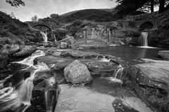 Three Shires Head (l4ts) Tags: landscape derbyshire staffordshire staffordshiremoorlands cheshire peakdistrict darkpeak threeshireshead riverdane waterfall bridge longexposure blackwhite monochrome