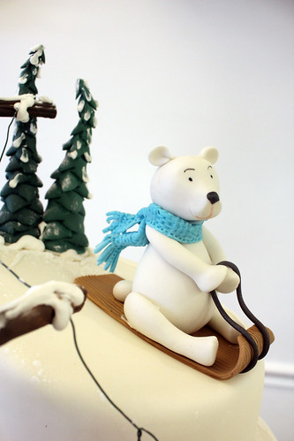 Ski Slope Bear Figurine Cake
