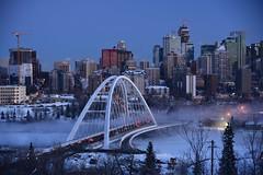 Edmonton at Night (In Explore) (remiklitsch) Tags: 3000v120f sharecangeo walterdale bridge edmonton winter night city urban downtown saskatchewandrive nikon remiklitsch cityscape skyscraper canada alberta twilight bluehour panorama panoramic