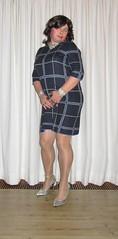 the front view of this dress with silver pumps combination (Barb78ara) Tags: littledress dress nylon nylons pantyhose tannylon tanpantyhose shinypantyhose shinynylon anklet highheels stilettoheels pumps stilettopumps silverheels silverpumps