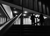 Stepping out (dave777_uk) Tags: nottingham nottinghamcontemporary night darkness dark shadow silhouette street blackandwhite monochrome bw canon eos m10 22mm couple
