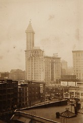 Seattle From Hotel Window 1930's (Bury Gardener) Tags: blackandwhite bw snaps scans 1930s sepia vintage oldies old usa america seattle