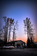 Idyllic de-light (Christie : Colour & Light Collection) Tags: canoe boat rustic cabin oldhouse sky nightlight peace tranquil peacful idyllic light night trees sunset simple simplicity cozy easy easyliving glow ambiance talltimbers bc canada britishcolumbia pittmeadows