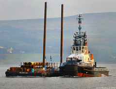 Scotland Greenock a dock making barge being moved by the tug SD Impulse 12 January 2018 by Anne MacKay (Anne MacKay images of interest & wonder) Tags: scotland river clyde greenock dock making barge tug sd impulse ship sea 12 january 2018 picture by anne mackay