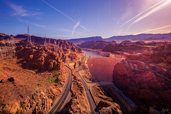 Hoover Dam (Žèę Ķ) Tags: sky clouds hooverdam coloradoriver lakemead sunrise nevada arizona dawn mountainrange hill landscape horizon dramatic