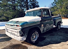 Chevrolet C/10 (Dave* Seven One) Tags: chevrolet c10 chevroletc10 1960s classic vintage faded peeling weathered rusty rusted rot rotted stepside blue snow snowcovered