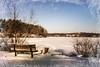Hometown Charm (lclower19) Tags: hornpond ai frame texture bench snow winter painterly woburn massachusetts lenabemanna 352 522018