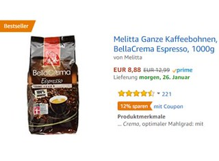 Amazon: Melitta-Kaffeebohnen für 7,42 Euro dank Gutschein