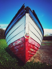 Red, white and blue boat (shollingsworth) Tags: boat hollingsworth iphoneography fineartphotography usa red white blue flag striped grounded martinez california colors