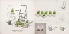 [ keke ] grow collection for Fameshed ([ keke ] by Kean Kelly) Tags: sl secondlife originalmesh fameshed keke potted plants watering cans wall candles step ladders
