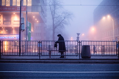 Waiting (ewitsoe) Tags: fog smog mist haze street urban cityscape warsaw ochota ewitsoe sidewalk travel trams walking canon eos 6dii lights hazy winter chilly warszawa poland visit
