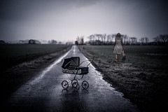 (Ferdinand Bart Alst - Pixel Your Soul Photography) Tags: pram doll horror fading girl dark road fiels scrary creepy wet rainy ghost darkart dream 50mm surreal nightmare