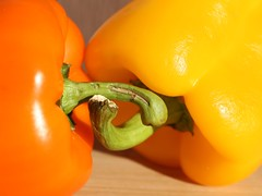 038/365 Sweet Peppers (Helen Orozco) Tags: 3954 38365 peppers orangeandyellow 2018365 vegetables stalks colours colors