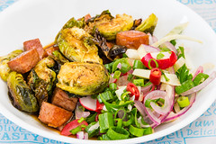 Friday dinner. Crispy Balsamic Brussels sprouts with Spam and a spicy limey fennel salad 💚 Landscape (garydlum) Tags: limezest belconnen parsley iodisedsalt limejuice fennel coriander balsamicvinegar fennelsalad spam brusselssprouts radish springonions canberra redonion birdseyechillies