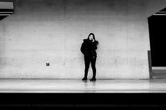 on stage (alexhaeusler) Tags: blackwhite stage phone people street grey