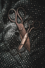 Old scissors (Ro Cafe) Tags: 52semanas52palabras objetos things objects lifeisarainbow grey gris scissors old rusted metal fabric dark lowkey naturallight shadows setup stilllife nikkormicro105f28 nikond600