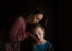 Self portrait with eldest child (trois petits oiseaux) Tags: mother daughter selfportrait lowlight
