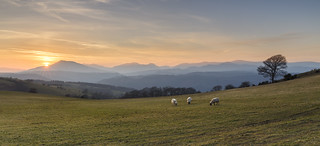 A hazy sunset over Northern Snowdonia