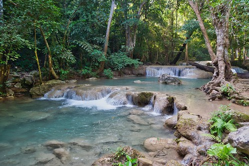 Level 1 of Erawan Waterfalls in Kanchanaburi, Thailand