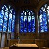 Gloucester Cathedral - Oct 2017 - Modern Stained Glass Window (Gareth1953 All Right Now) Tags: gloucester cathedral stainedglasswindow blue angels flowers vase light arch