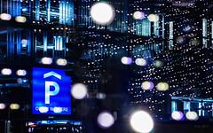 Parking illuminated... (Ody on the mount) Tags: architektur bildebenen experimente licht reutlingen spiegelung weihnachtsbeleuchtung street