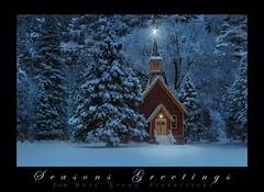 Christmas Fantasia, Yosemite (Matt Granz Photography) Tags: christmas yosemite chapel church snow winter dusk twilight lights photoshop valley california nature holiday trees