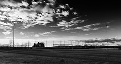 untitled . (helmet13) Tags: d800e raw bw landscape footballground winter sunset goal sky clouds panorama peaceawards world100f