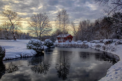 Perfect beauty (madre11) Tags: snow winter newenglandwinter coveredbridge firstsnow freshsnow candianewhampshire landscape reflections water sunrise dawn nature trees