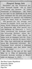 Fireproof Garage Sold, Independence & Washington St, Monticello, IL 1920-12-03 (RLWisegarver) Tags: piatt county history monticello illinois usa il