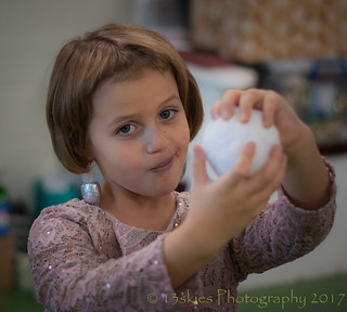 Kaydie with a pretend snowball