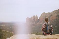 Seek Far (Caroline Kutchka Folger) Tags: man human person mesa desert hiking backpacking sedona arizona 35mm lomography roadtrip