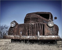 Taken along an Oklahoma Sideroad (A Anderson Photography, over 2.2 million views) Tags: chevy rusted rust canon grill truck pickup