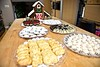 Christmas delicacies from a baker! (ineedathis, Everyday I get up, it's a great day!) Tags: christmas2017 gingerbreadhouse barn pastries cookies vanillatwists kourabiedes amygdalota almondcookies rainbowpastries meringues darkchocolatetruffles goldleaf whitechocolatetruffles chocolatemacaroons whitechocolatemacarons baklava kitchen bakersbench nikond750 desserts sweets