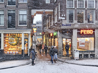 Snow storm in de centre of the Red Light destrict