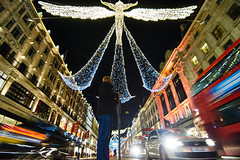 An Angel Looking Down On You... (paulinuk99999 (lback to photography at last!)) Tags: paulinuk99999 london nightshot angel regent street lights uwa traffic