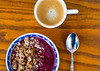 Smoothie and Granola Bowl (tlwecker) Tags: wood spoon cinnamon espresso bowl berries cooking breakfast table smoothie granola morning food blackberry cuisine grain berry honey blueberry lifestyle coffee metal